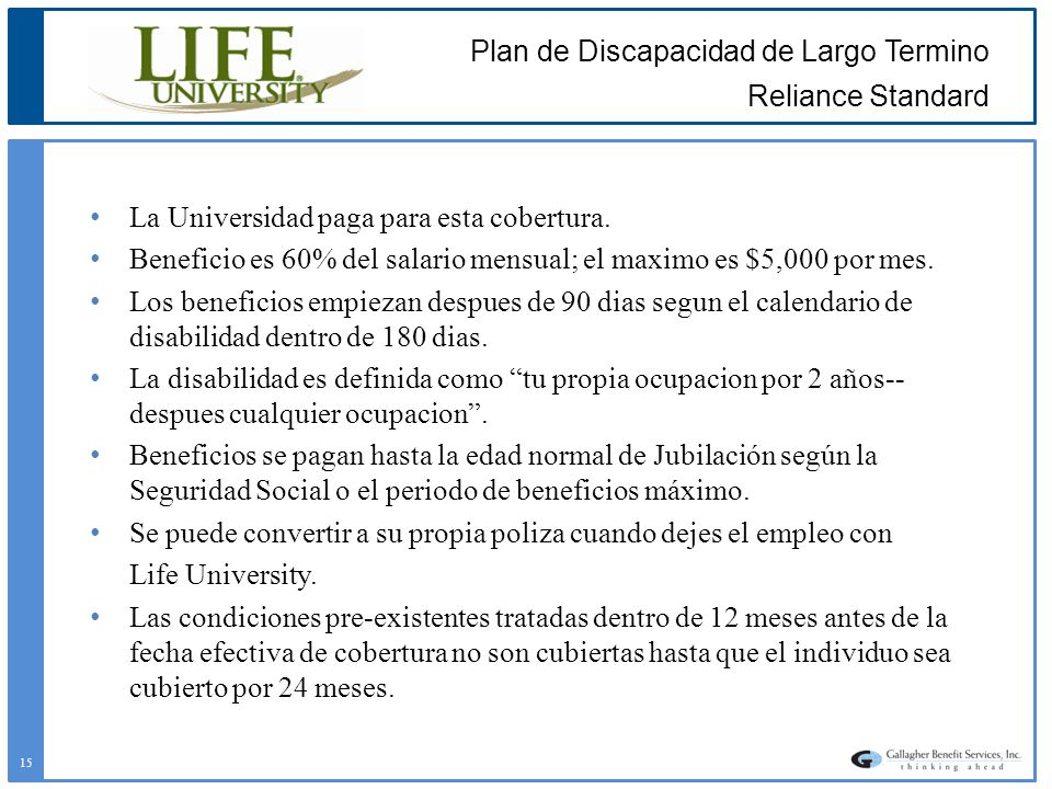 Plan de Discapacidad de Largo Termino Reliance Standard