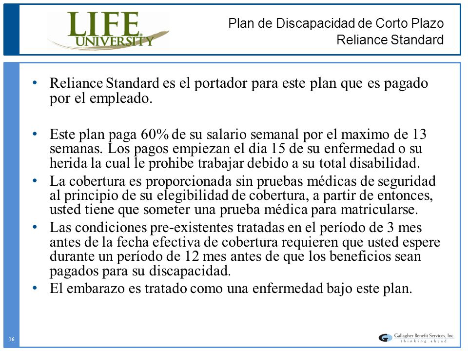 Plan de Discapacidad de Corto Plazo Reliance Standard