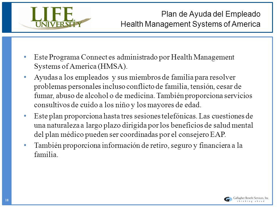Plan de Ayuda del Empleado Health Management Systems of America