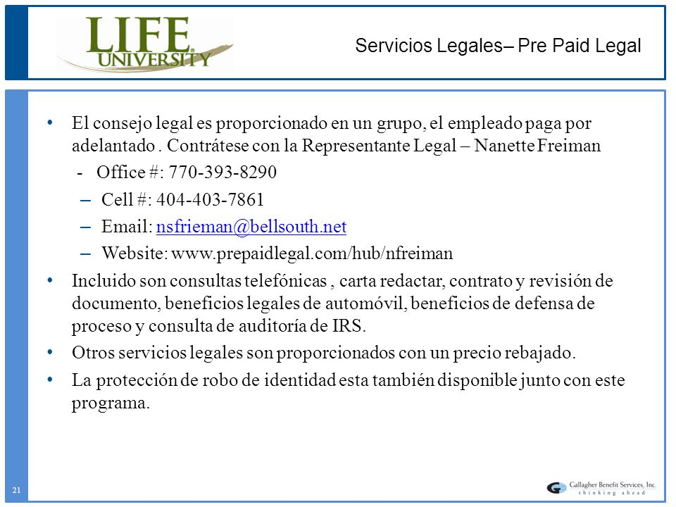 Servicios Legales– Pre Paid Legal