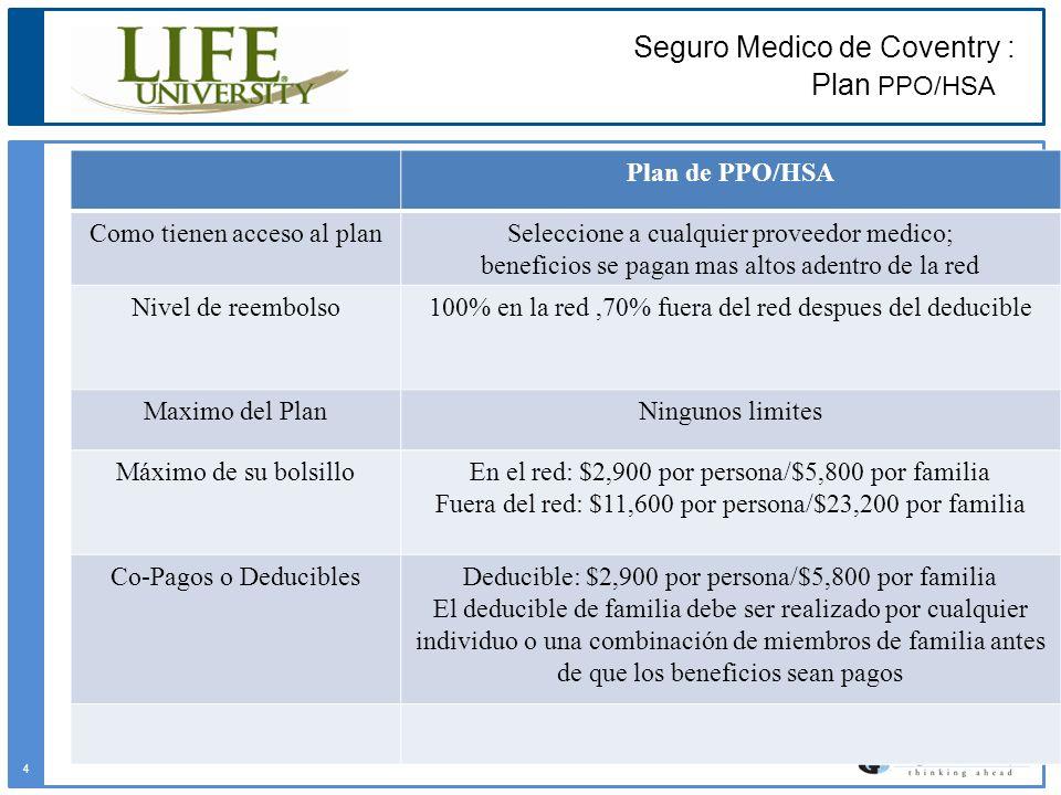 Seguro Medico de Coventry : Plan PPO/HSA