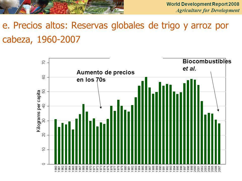 e. Precios altos: Reservas globales de trigo y arroz por cabeza, 1960-2007