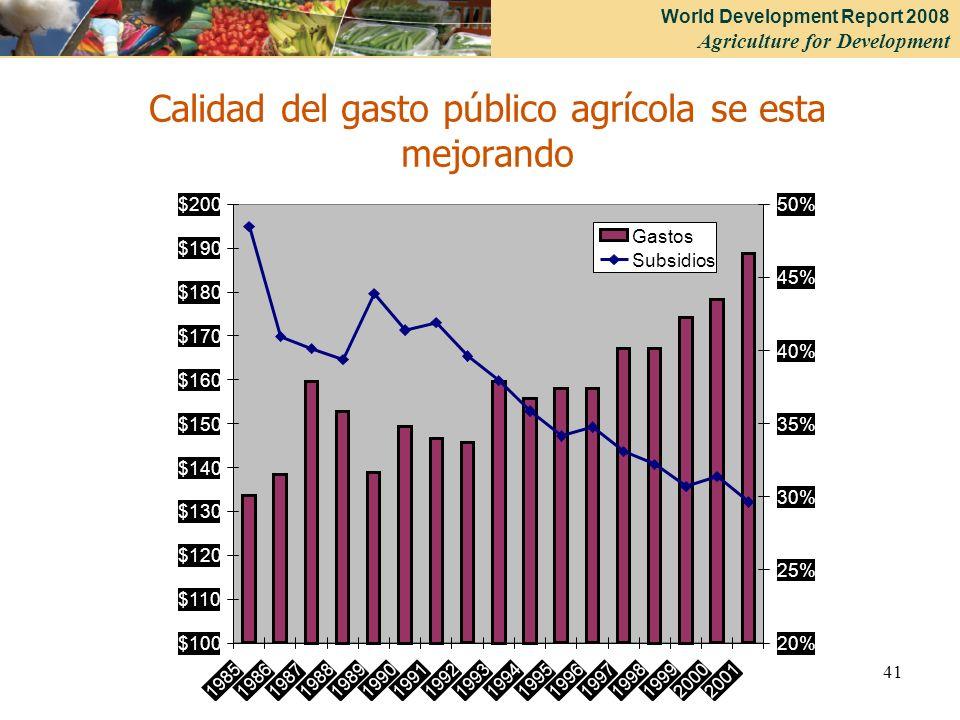 Calidad del gasto público agrícola se esta mejorando
