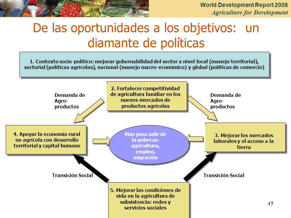 De las oportunidades a los objetivos: un diamante de políticas