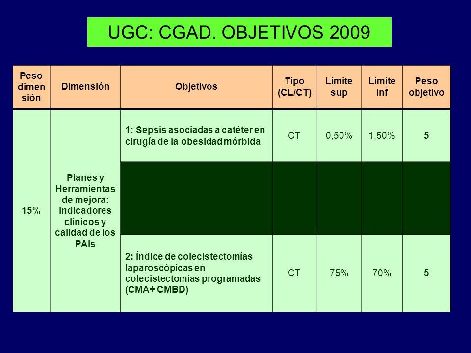 UGC: CGAD. OBJETIVOS 2009 Peso dimensión Dimensión Objetivos