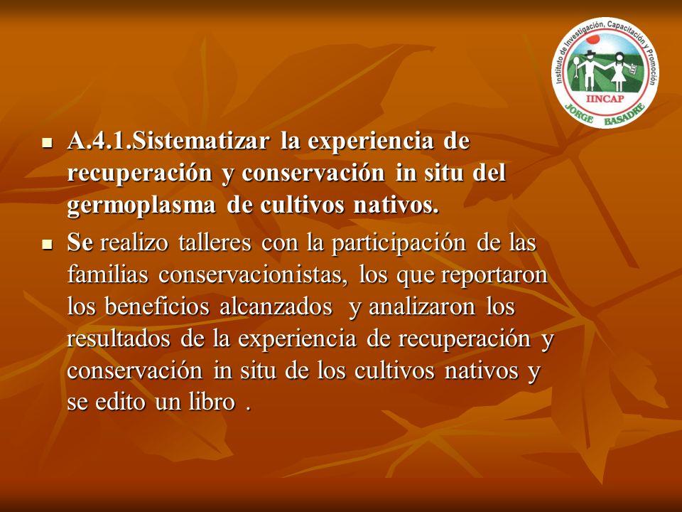 A.4.1.Sistematizar la experiencia de recuperación y conservación in situ del germoplasma de cultivos nativos.