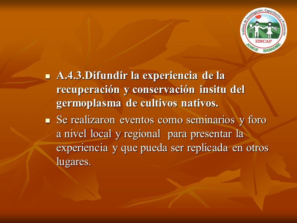 A.4.3.Difundir la experiencia de la recuperación y conservación insitu del germoplasma de cultivos nativos.
