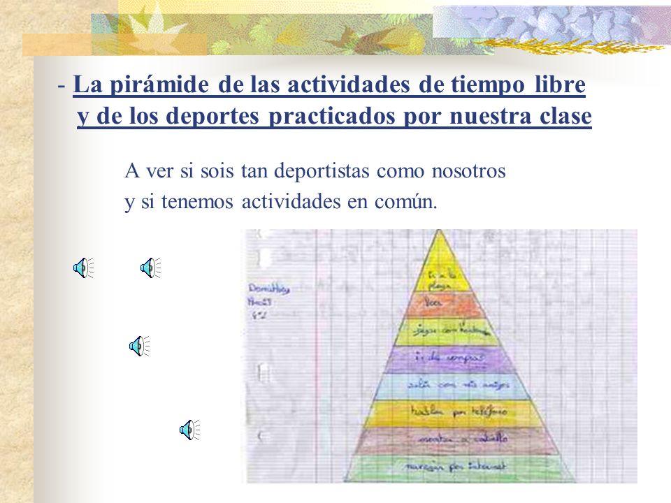 La pirámide de las actividades de tiempo libre y de los deportes practicados por nuestra clase A ver si sois tan deportistas como nosotros y si tenemos actividades en común.