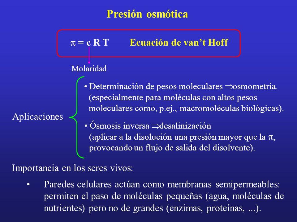 Presión osmótica p = c R T Ecuación de van't Hoff Aplicaciones