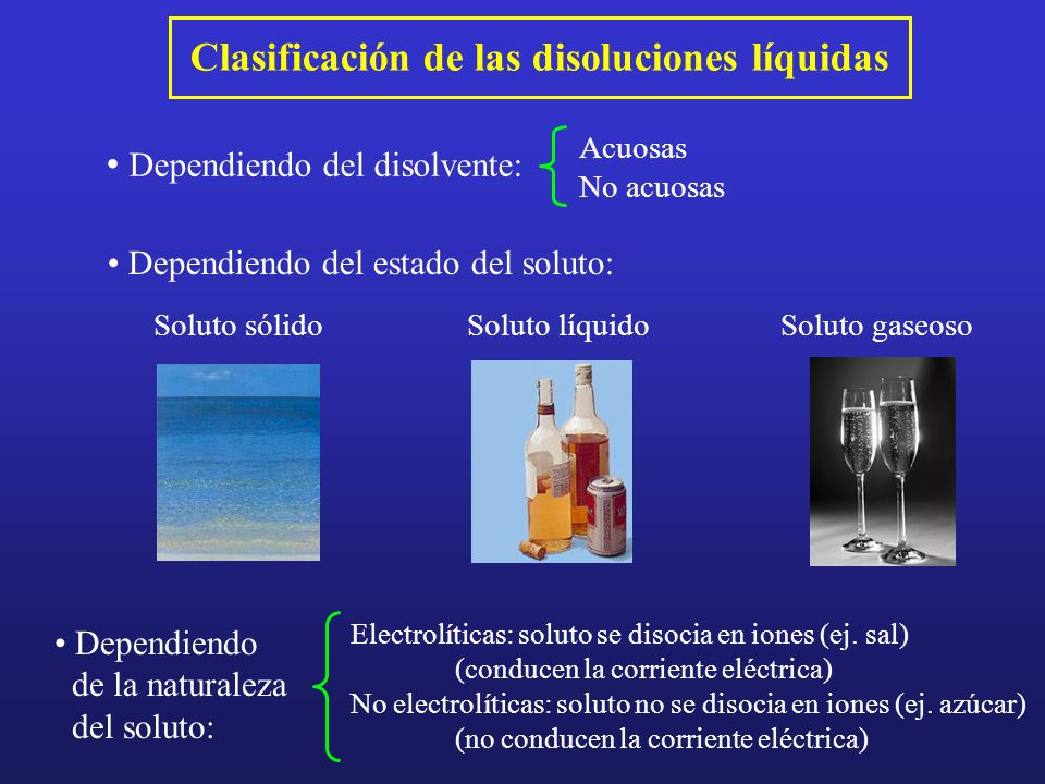 Clasificación de las disoluciones líquidas