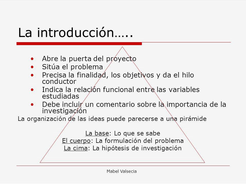 La introducción….. Abre la puerta del proyecto Sitúa el problema
