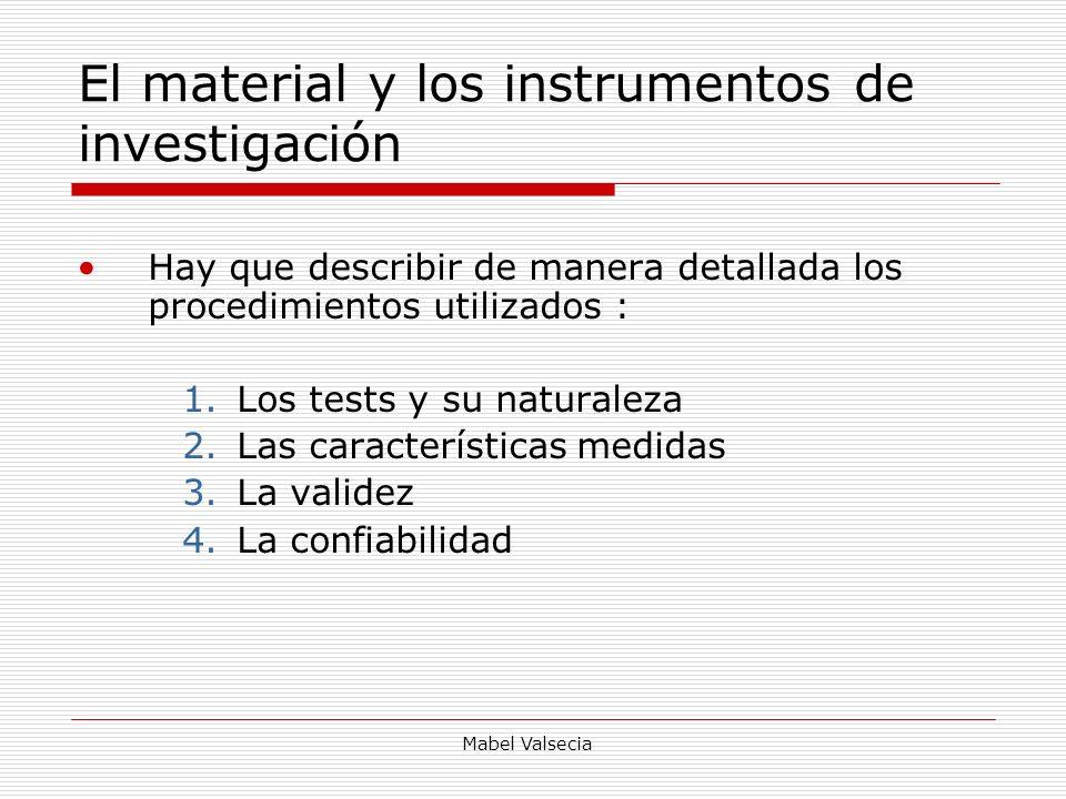 El material y los instrumentos de investigación