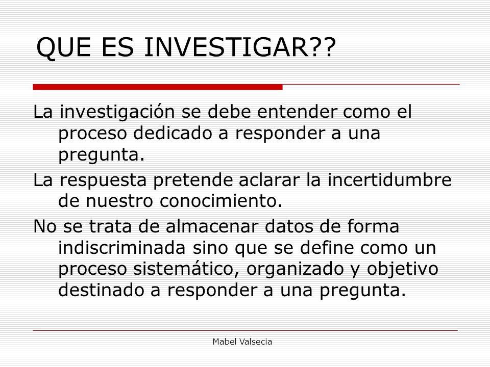 QUE ES INVESTIGAR La investigación se debe entender como el proceso dedicado a responder a una pregunta.