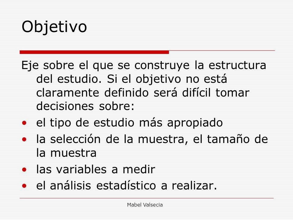 Objetivo Eje sobre el que se construye la estructura del estudio. Si el objetivo no está claramente definido será difícil tomar decisiones sobre: