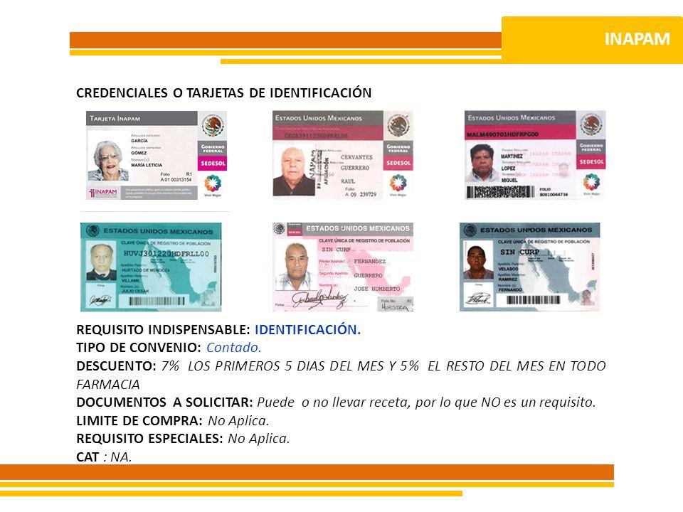 INAPAM CREDENCIALES O TARJETAS DE IDENTIFICACIÓN