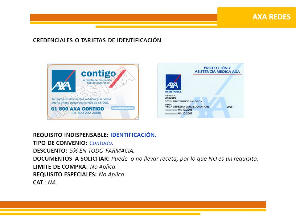 AXA REDES CREDENCIALES O TARJETAS DE IDENTIFICACIÓN