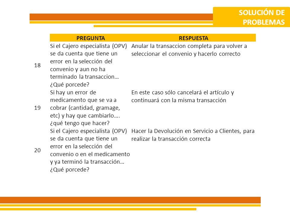 SOLUCIÓN DE PROBLEMAS. PREGUNTA. RESPUESTA. 18.