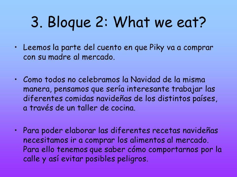 3. Bloque 2: What we eat Leemos la parte del cuento en que Piky va a comprar con su madre al mercado.