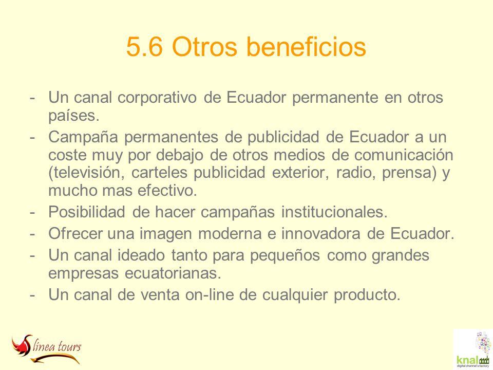5.6 Otros beneficios Un canal corporativo de Ecuador permanente en otros países.