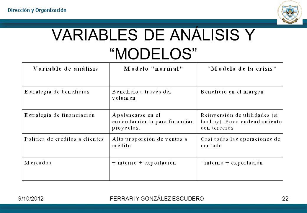 VARIABLES DE ANÁLISIS Y MODELOS