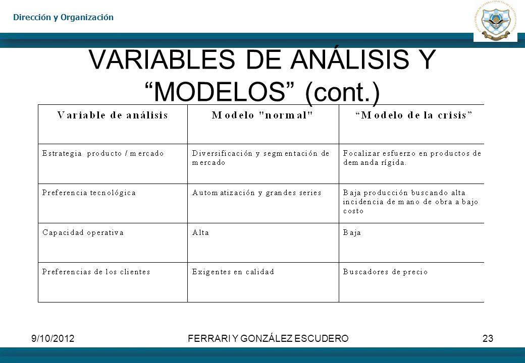 VARIABLES DE ANÁLISIS Y MODELOS (cont.)