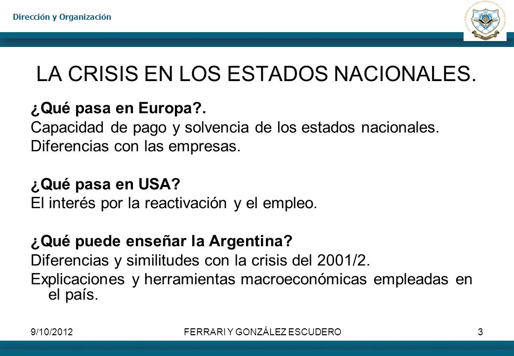 LA CRISIS EN LOS ESTADOS NACIONALES.