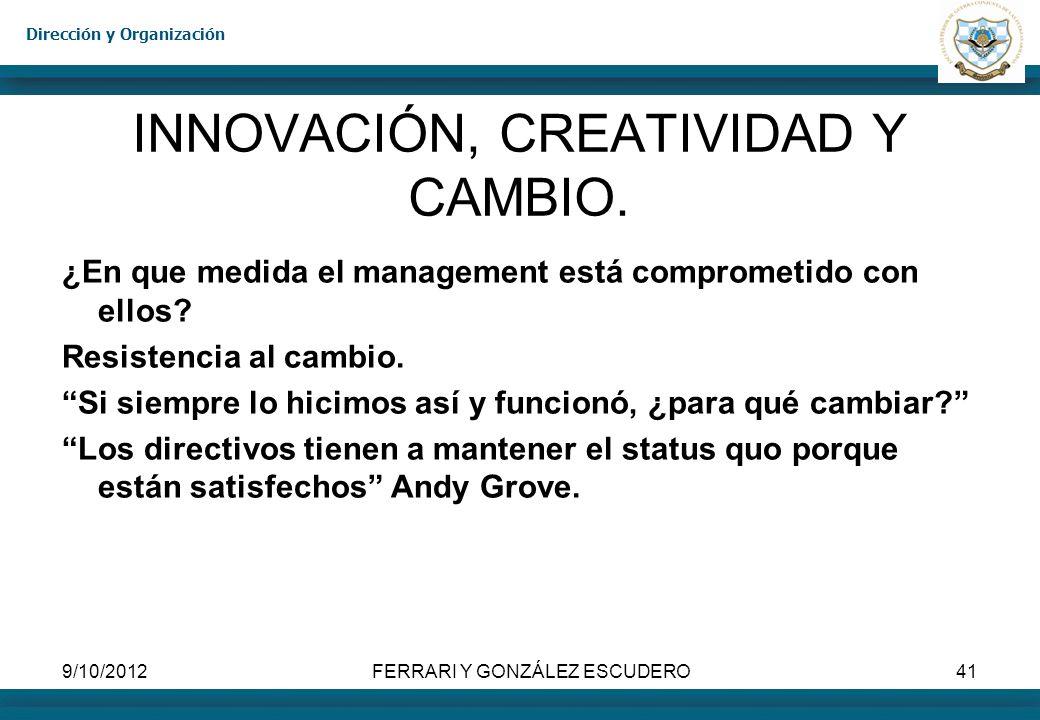 INNOVACIÓN, CREATIVIDAD Y CAMBIO.