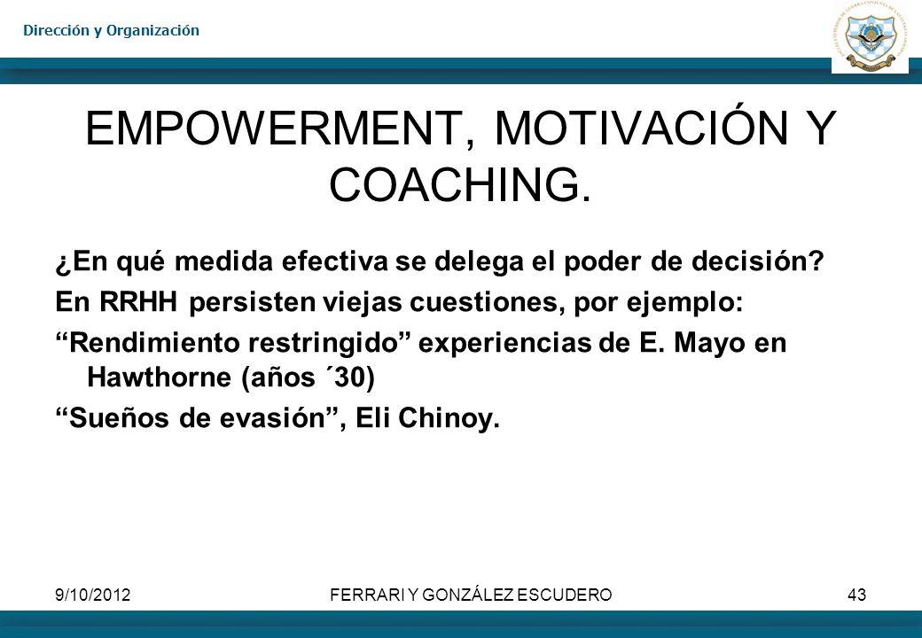EMPOWERMENT, MOTIVACIÓN Y COACHING.