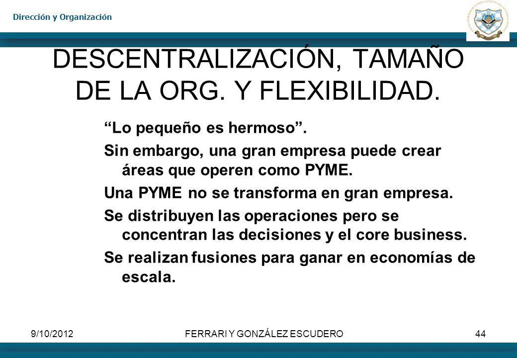 DESCENTRALIZACIÓN, TAMAÑO DE LA ORG. Y FLEXIBILIDAD.