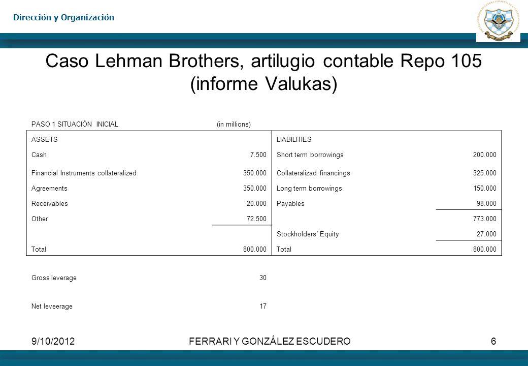 Caso Lehman Brothers, artilugio contable Repo 105 (informe Valukas)