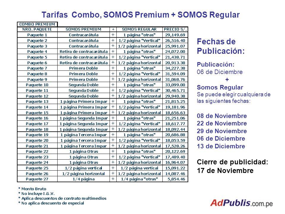 Tarifas Combo, SOMOS Premium + SOMOS Regular