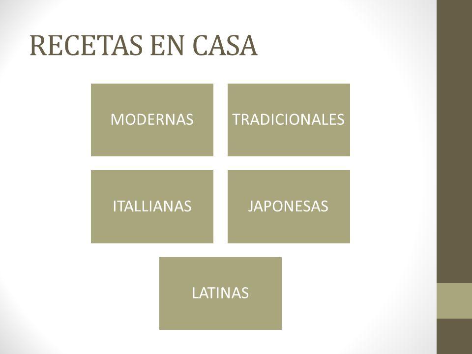 RECETAS EN CASA MODERNAS TRADICIONALES ITALLIANAS JAPONESAS LATINAS
