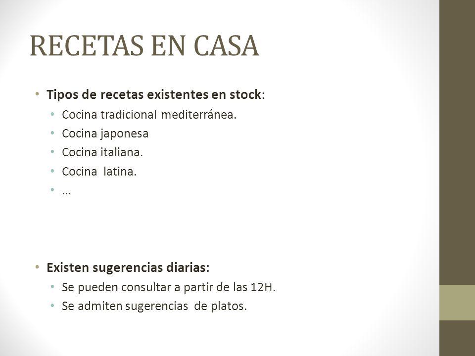 RECETAS EN CASA Tipos de recetas existentes en stock:
