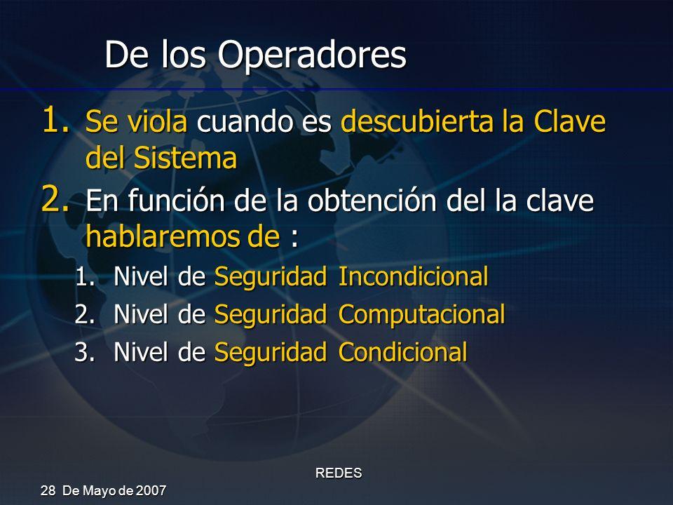 De los Operadores Se viola cuando es descubierta la Clave del Sistema