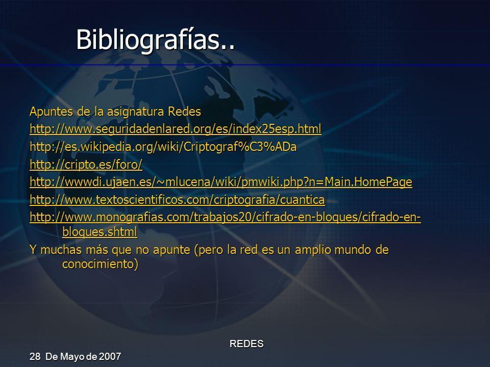 Bibliografías.. Apuntes de la asignatura Redes