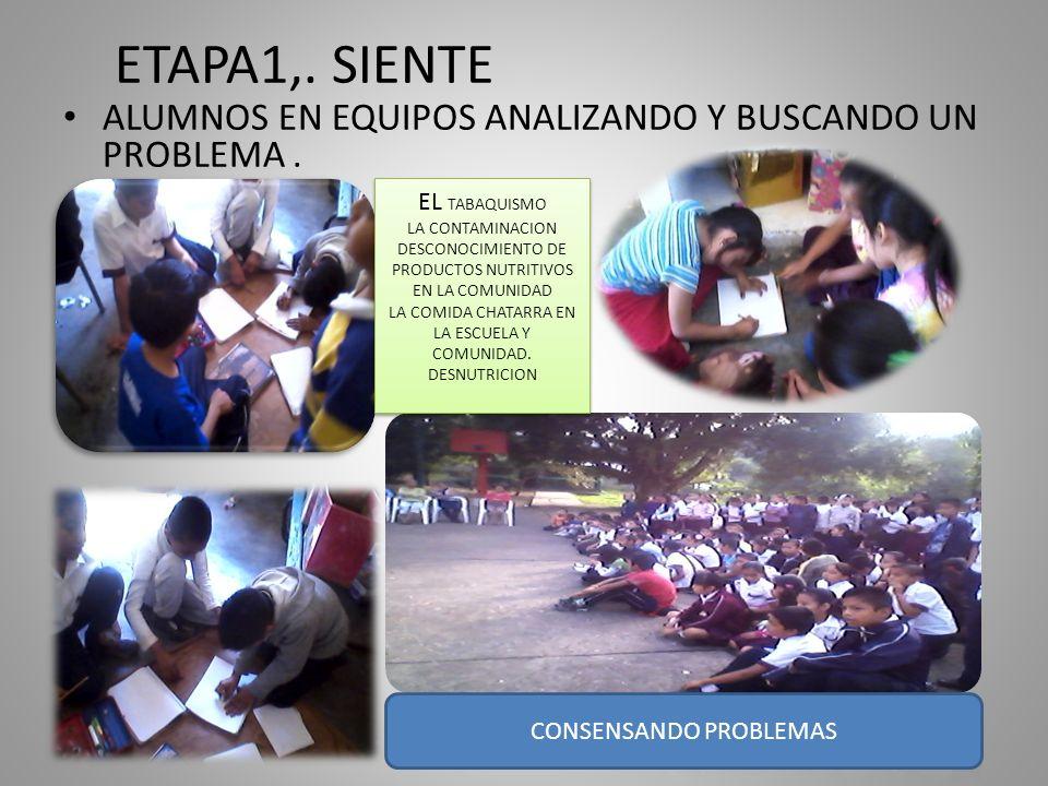 ETAPA1,. SIENTE ALUMNOS EN EQUIPOS ANALIZANDO Y BUSCANDO UN PROBLEMA .