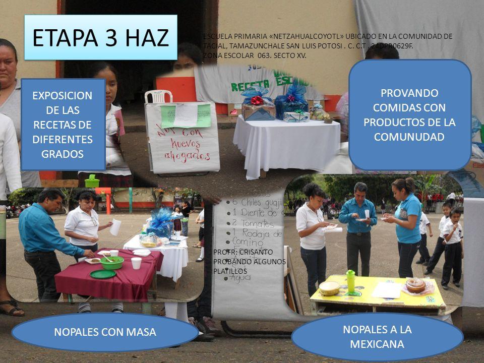 ETAPA 3 HAZ PROVANDO COMIDAS CON PRODUCTOS DE LA COMUNUDAD