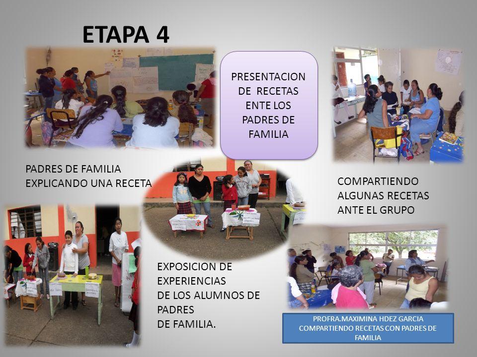 ETAPA 4 COMPARTE PRESENTACION DE RECETAS ENTE LOS PADRES DE FAMILIA