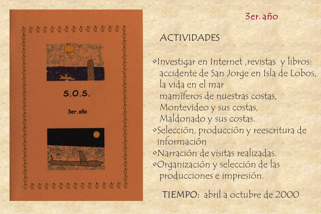 3er. año ACTIVIDADES. Investigar en Internet ,revistas y libros: accidente de San Jorge en Isla de Lobos,