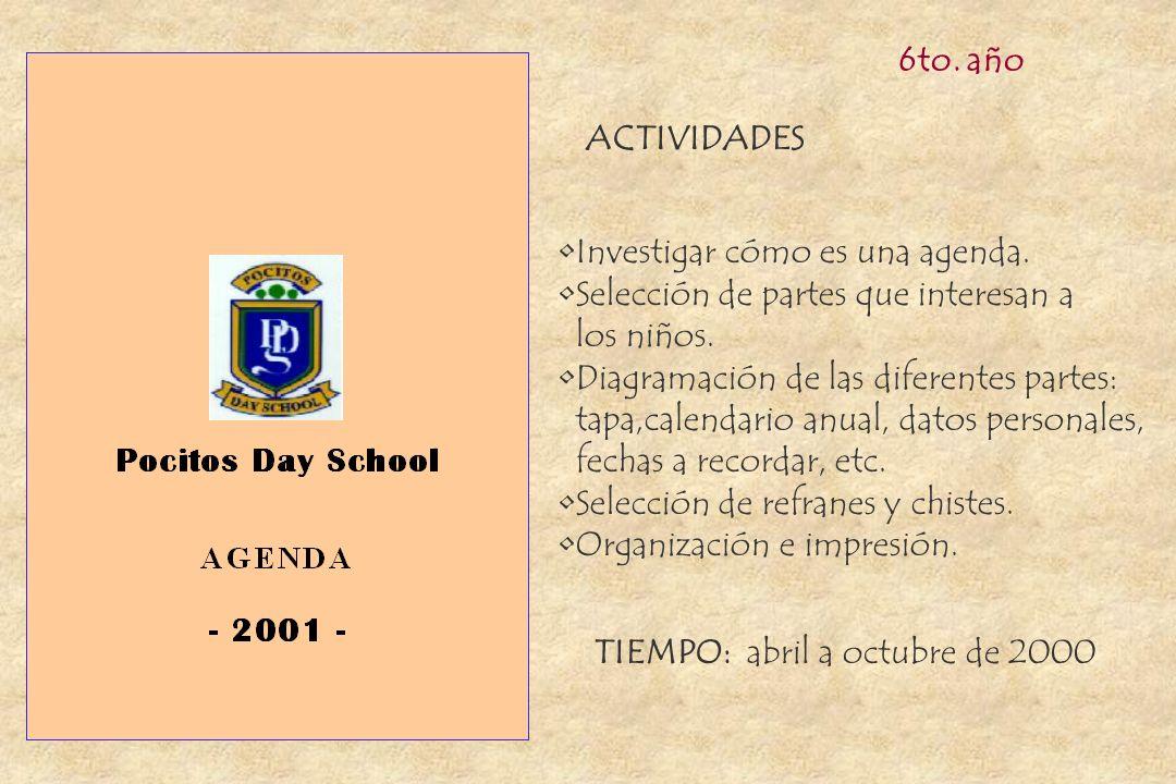 6to. año ACTIVIDADES. Investigar cómo es una agenda. Selección de partes que interesan a. los niños.