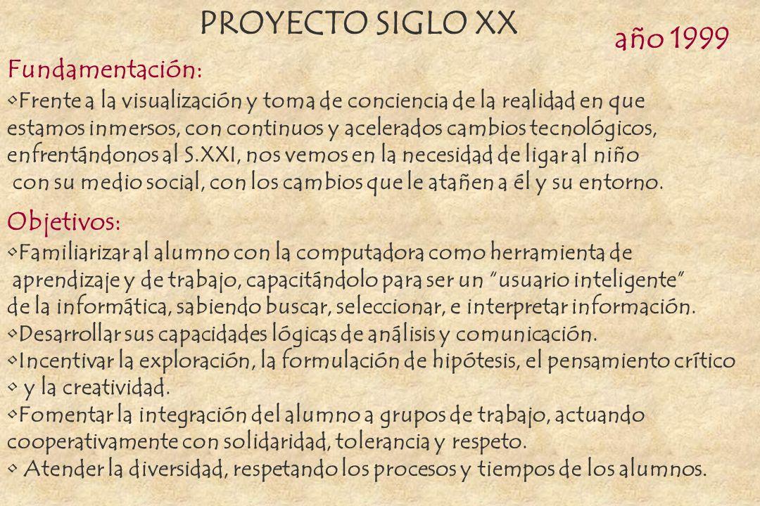 PROYECTO SIGLO XX año 1999 Fundamentación: Objetivos: