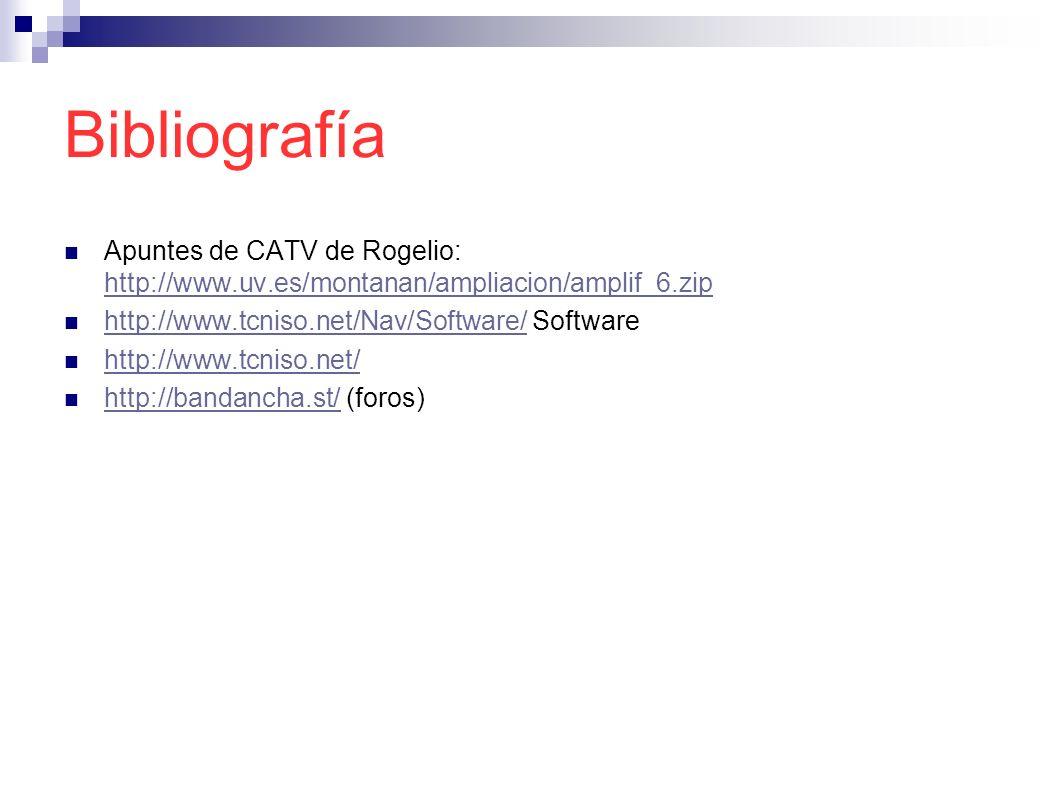 Bibliografía Apuntes de CATV de Rogelio: http://www.uv.es/montanan/ampliacion/amplif_6.zip. http://www.tcniso.net/Nav/Software/ Software.
