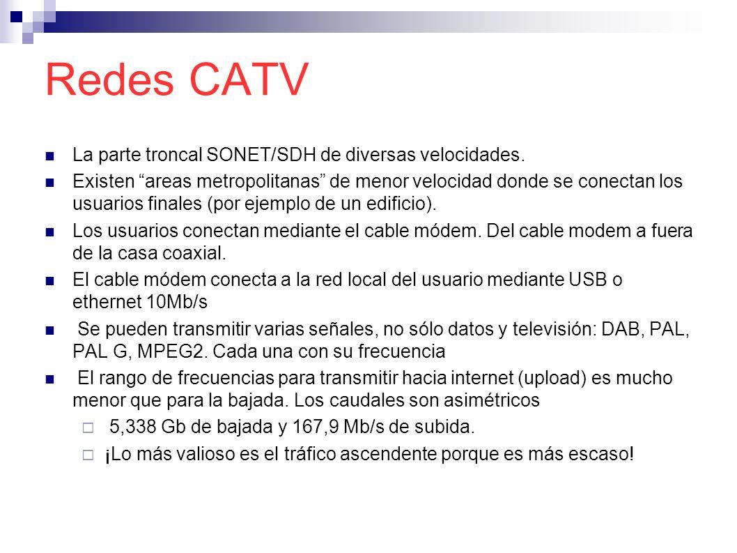 Redes CATV La parte troncal SONET/SDH de diversas velocidades.