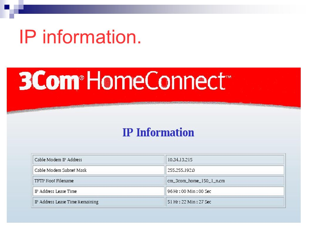 IP information.