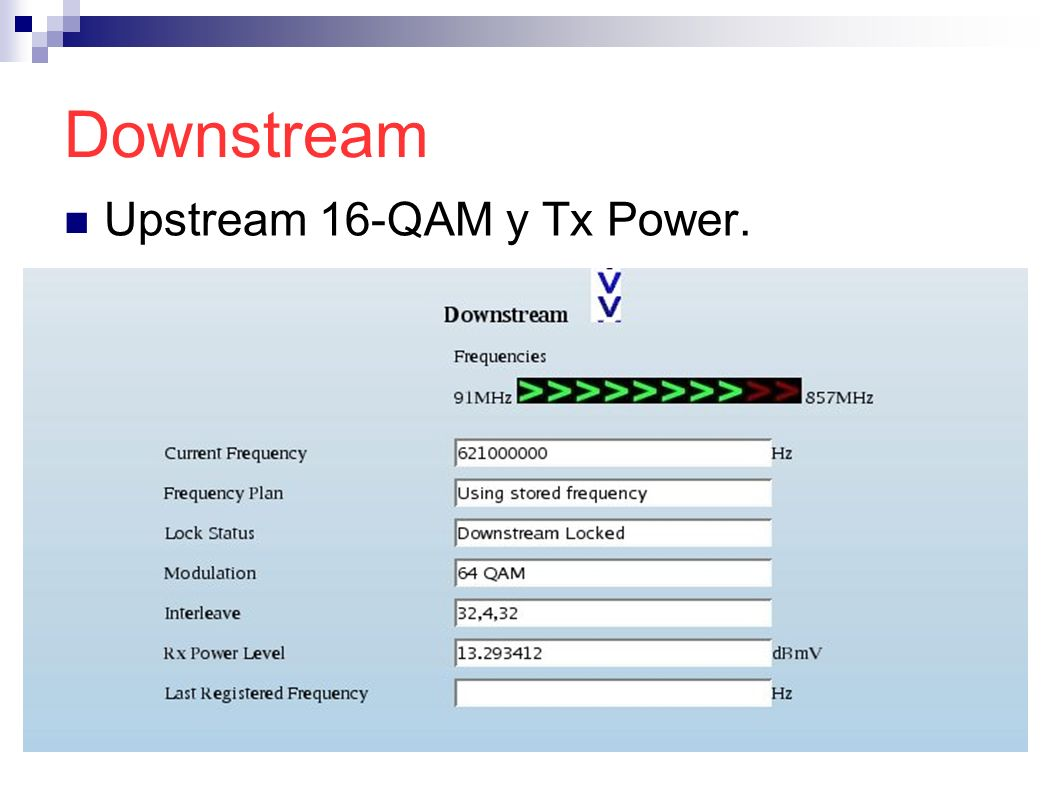Downstream Upstream 16-QAM y Tx Power.