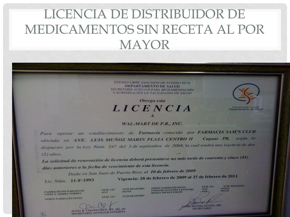 Licencia de Distribuidor de Medicamentos Sin Receta al Por Mayor