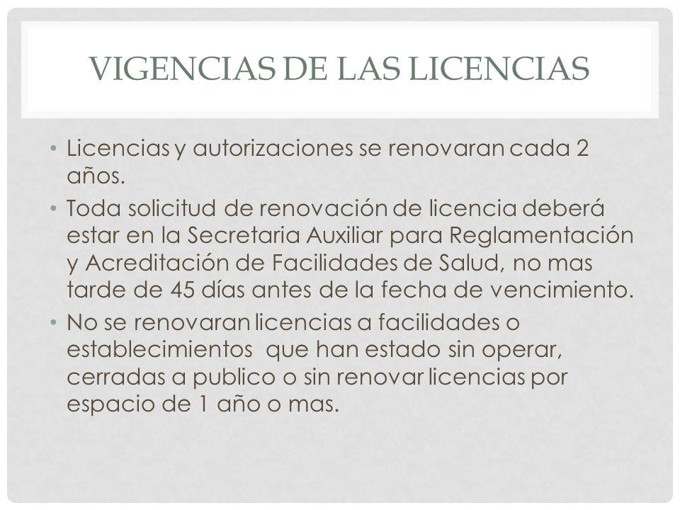 Vigencias de las licencias