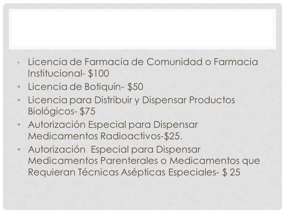 Licencia de Farmacia de Comunidad o Farmacia Institucional- $100