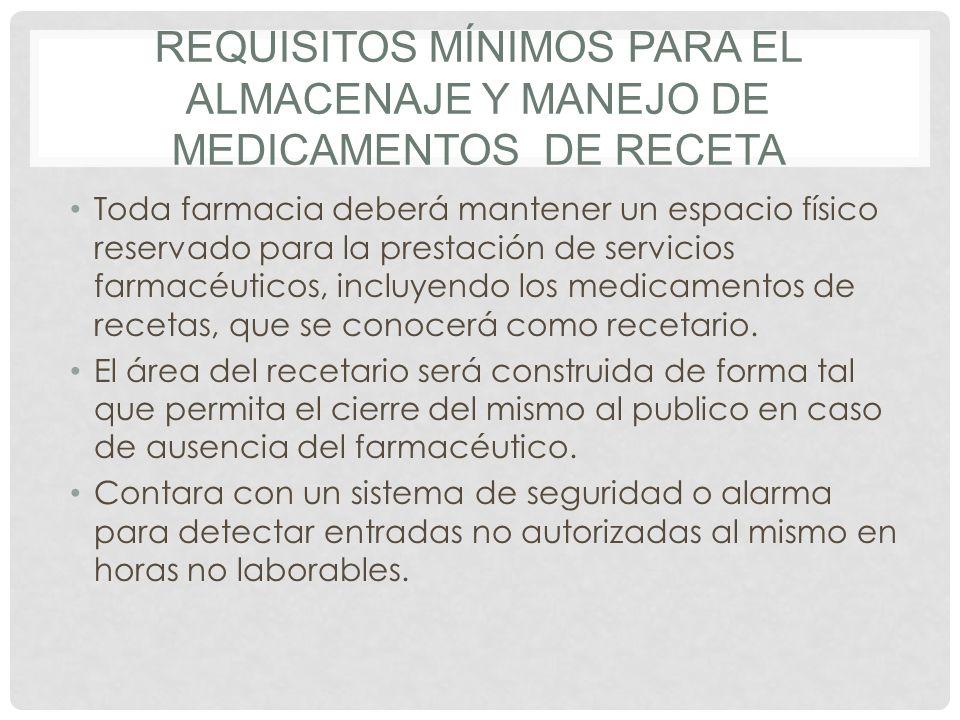 Requisitos mínimos para el almacenaje y manejo de medicamentos de receta