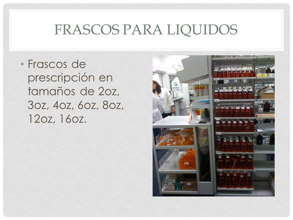 Frascos para liquidos Frascos de prescripción en tamaños de 2oz, 3oz, 4oz, 6oz, 8oz, 12oz, 16oz.